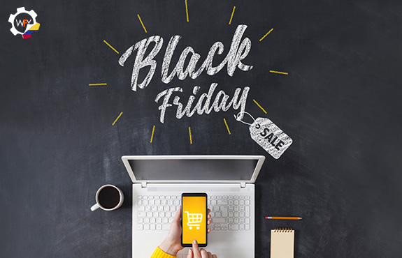 Black Friday con Manos Comprando en Smartphone
